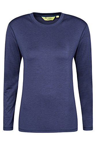 Mountain Warehouse Panna Damen Langarm T-Shirt Sport aktiv Training wandern Base Layer Kompression Funktionsshirt Marineblau DE 44 (EU 46)