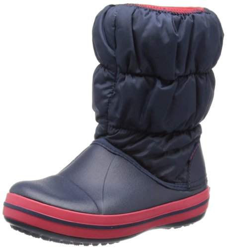 Crocs Winter Puff Unisex - Kinder Warm Schneestiefel, Blau (Navy/Red 485), 30/31