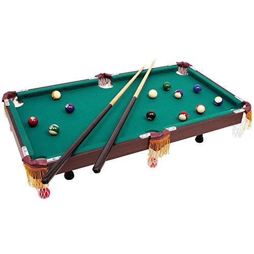 Billardtisch im klassischen Design, mit 2 h�lzernen Queues samt passender Keide und Billiardkugeln mit Triangel