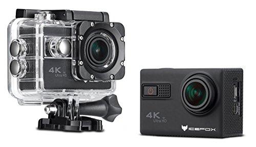 """IceFox � Action-Kamera 4k, wasserdicht bis 30 Meter Unterwasser, WIFI Fernbedienung Kamera mit Sony-Objektiv, Loop-Aufnahme, 1080p Full HD, 170� Weitwinkel, HDMI Mikro-USB-TV-Ausgang, RSC Anti-Shake, 2,0"""" HD LCD-Display (Schwarz)"""