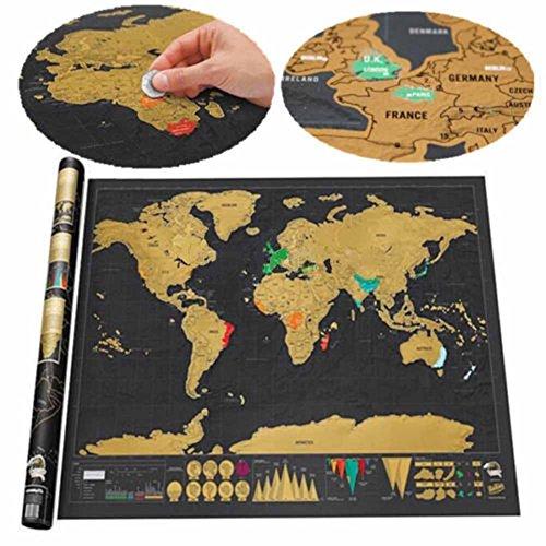 Luxus Scratch Map Weltkarte zum Rubbeln Sch�ne Erinnerung an bisherige Reisen f�r jeden Globetrotter (82 x 60 cm)