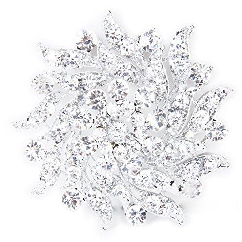 Kristall Strass Blumen Brauthochzeits Blumenstrau� Silber Brosche