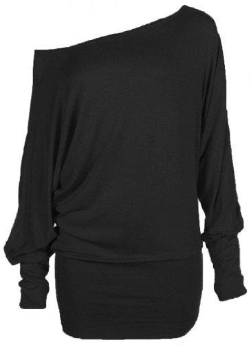 Funky Boutique Damen schulterfreies Longsleeve Top : Farbe - Schwarz : Gr��e: 12-14 ml