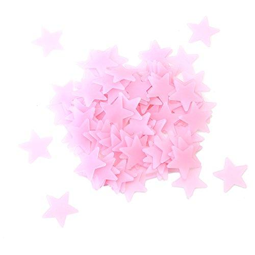 Hengsong Leuchtsterne, Sterne Aufkleber Wandaufkleber, Gl�hen Im Dunkeln, aus Kunststoff, als Dekoration f�r Kinderzimmer und Schlafzimmer, 100 St�ck (3*3cm, Rosa)