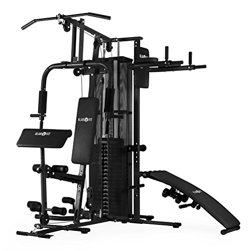 Klarfit Ultimate Gym 5000 Multi-Kraftstation Fitness-Station f�r �ber 50 �bungen z. B Dip, Sit-Up, Butterfly, Bein, Bauch, Arm, und R�cken-Trainer (inkl. 58,5 kg Gewichte, Seilzug, Hanteln und Polster) schwarz