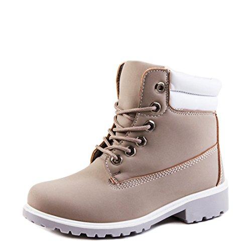 Robuste Damen Winter Boots Schuhe in Lederoptik gef�ttert Grau 41