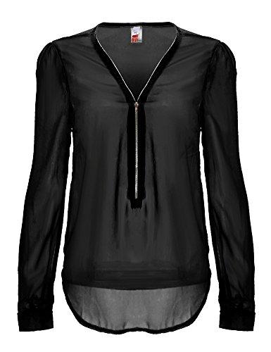 Ayliss� Frauen OL sexy Rei�verschluss V-Ausschnitt Langarm Chiffon Hemd Blusen S-XXL (Asien Gr. L?EU M?)