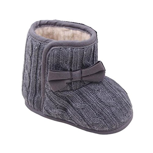 Ularmo Schuhe f�r 3-12 Monate Baby, Bowknot-weich Sohle Winter warme Schuhe Boots (11cm(3-6 Monate), Grau)