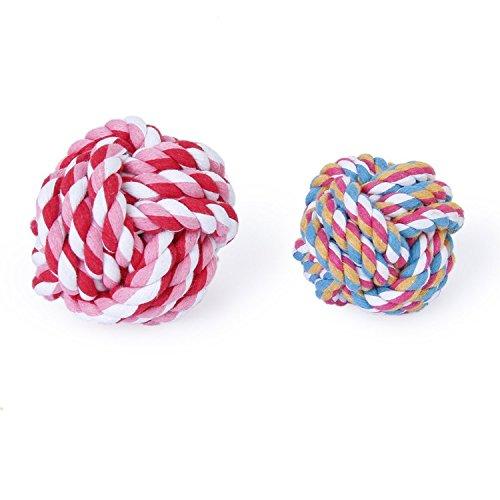 Hundespielzeug/Kauspielzeug f�r Hunde, Knotenball aus Seil, Baumwolle, geflochten, zur Zahnreinigung, 9 cm, beliebige Farbe