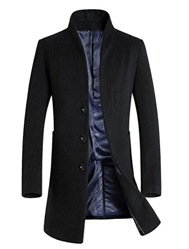 Vogstyle Herren Winter Slim Fit Wollmantel Business Überzieher Schlank  Lange Windbreaker Jacken Schwarz L 5e8b33460d