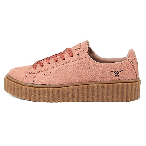 SKUTARI Damen - Plateau Low Sneakers Wildleder Schuhe, Rosa , Gr��e 38