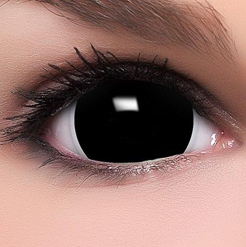 Farbige Mini Black Sclera Kontaktlinsen Lenses inkl. 10ml Kombil�sung und Beh�lter, in schwarz, weich ohne St�rke, 2er Pack - Top-Markenqualit�t, angenehm zu tragen und perfekt zu Halloween oder Karneval