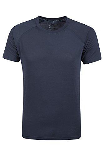 Mountain Warehouse District Herren technisches T-Shirt Base Layer schnell trocknend Funktionsshirt Sports Fitness Laufen Joggen Radfahren Marineblau Medium