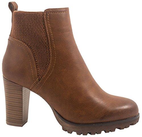 Elara Ankle Boots | Trendige Damen Stiefeletten | Blockabsatz Plateau Gr��e 38, Farbe Camel