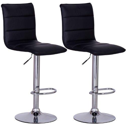 WOLTU BH15sz-2 Design Hocker mit Griff , 2er Set , stufenlose H�henverstellung , verchromter Stahl , Antirutschgummi , pflegeleichter Kunstleder , gut gepolsterte Sitzfl�che , schwarz