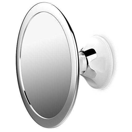 Jerrybox Antibeschlag Duschspiegel Beschlagfreier Rasierspiegel, 360 Grad Drehbarer Badspiegel, Einstellbarer Wandspiegel mit Saugnapf, Rund, Silber, Gro�artige Geschenkidee