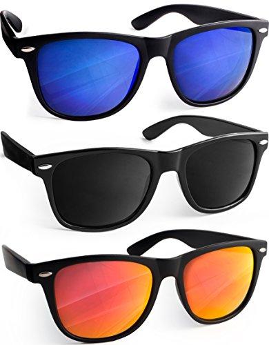 UVprotect� Sonnenbrille Wayfarer Design verspiegelt SetA W02