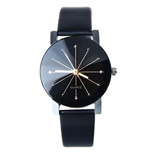 Fortan Frauen-Quarz-Dial Uhr Leder Armbanduhr runde Geh�use