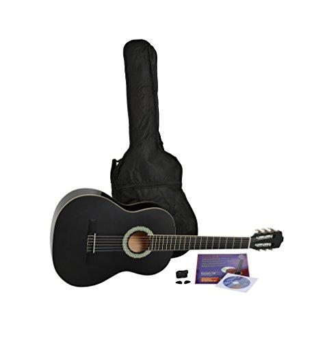 NAVARRA Konzertgitarre 4/4 STARTER SET schwarz mit cremefarbigen Randeinlagen, incl. Tasche leicht gepolstert mit Rucksackriemen, Lehrbuch mit vielen Hits und CD, Cliptuner (Stimmger�t) mit LCD-Nadelanzeige mit Hintergrundbeleuchtung, 2 Plektren