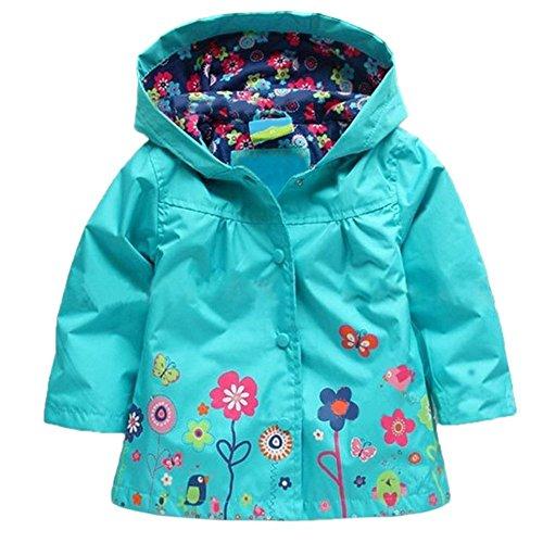 Tres Chic Mailanda Kinder Maedchen Regenjacke Regenmantel mit Kapuze Blau Groesse 90 1-2 Jahre