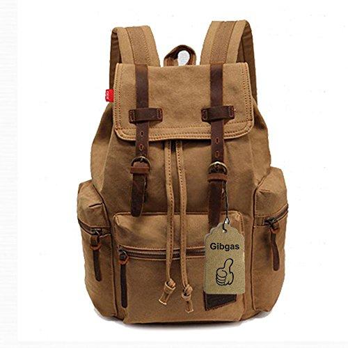 GIBGAS Damen Herren Canvas Rucksack Vintage Daypacks Retro Backpacks f�r Studenten Uni Reisen Outdoor Sports Wandern mit Gro�er Kapazit�t (Khaki)