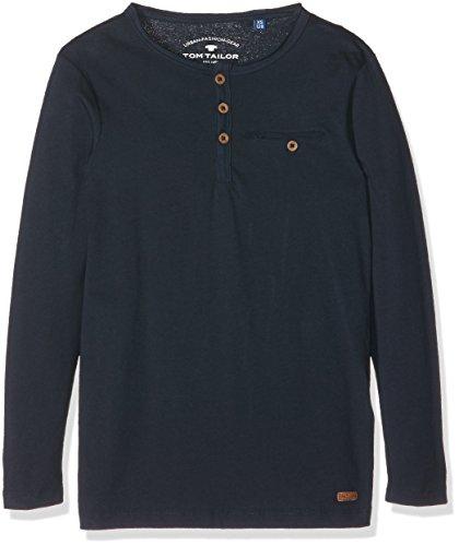 TOM TAILOR Kids Jungen T-Shirt Basic Henley Tee, Blau (Dark Blue 6012), 152