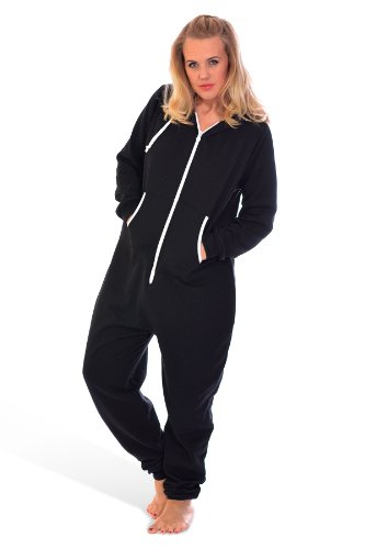 Unisex Hooded Zip Onesie Black XXXL