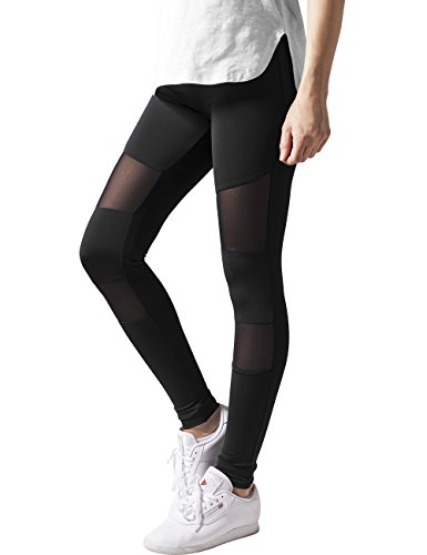 Urban Classics Damen Ladies Tech Mesh Leggings, Schwarz (Black 7), W36 (Herstellergr��e: S)