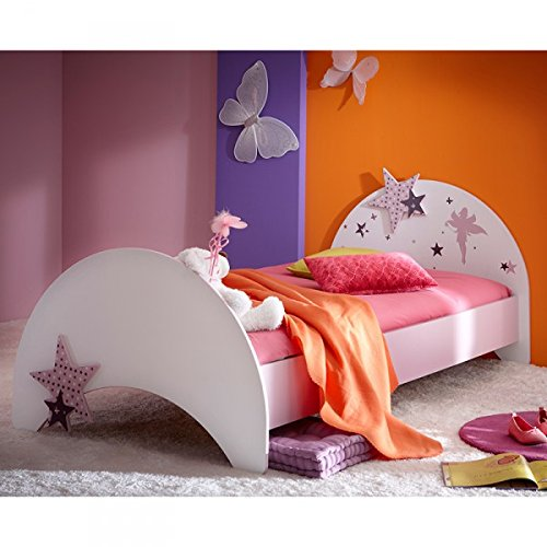 Jugendbett Sternchen 90*200 cm lila wei� Kinderbett Jugendliege Bettliege Bett Holz Bettgestell M�dchen Jugendzimmer Kinderzimmer