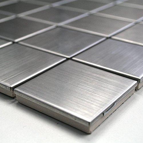 Edelstahl Mosaik Fliesen 48x48x8mm Silber - 1 Matte