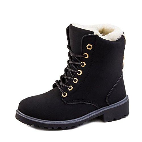 Robuste Damen Winter Boots Schn�r Stiefelettten Schuhe in Lederoptik warm gef�ttert Schwarz 39