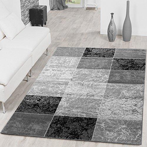 Teppich Preiswert Karo Design Modern Wohnzimmerteppich Grau Schwarz Top Preis, Gr��e:120x170 cm