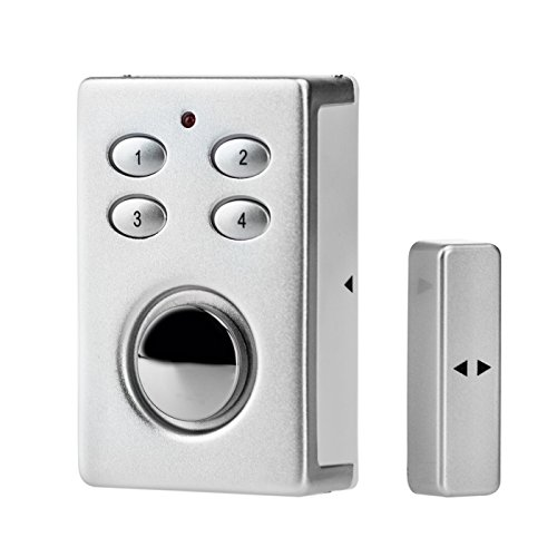 KOBERT GOODS - SP65 drahtloser T�r-, Fenster- oder Vitrinenalarm Farbe SILBER Einsatz als Alarmanlage, Einbruchsschutz, Home-Security Mit PIN-Code-Eingabe, Magnet / Vibrationssensor sowie 130 db-Sirene