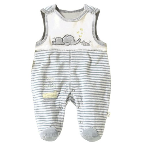 BORNINO Nicki-Strampler Baby Strampelanzug, Gr��e 50/56, grau