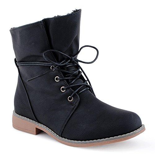 Damen Schn�r Boots Stiefeletten Warm Gef�ttert Stiefel Schuhe Schwarz/gef�ttert EU 37