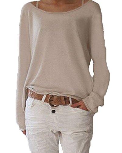 ZANZEA Damen Langarm Lose Bluse Hemd Shirt Oversize Sweatshirt Oberteil Tops Beige EU 36-38/Etikettgr��e S