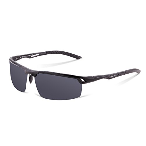 Duco Herren Sport Stil Polarisierten Sonnenbrille Metallrahmen Brillen 8550, Schwarz/Grau