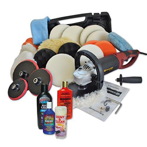 Kingbarney XXXL Profiset - Poliermaschine/Schleifmaschine inkl. Koffer 1500 Watt Set 4 + Polierschwamm Zubeh�rset - inkl. Politur - 30 Teile - Auto polieren