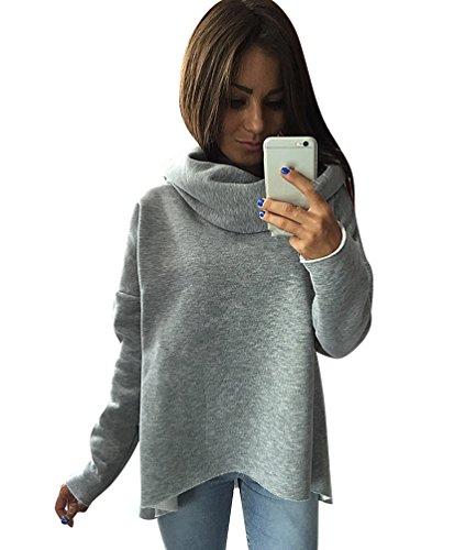 YouPue Winter Damen Solide Unregelm��ig Geschnittene Rollkragen Sweatshirt Pullover Tops Grau Asien M