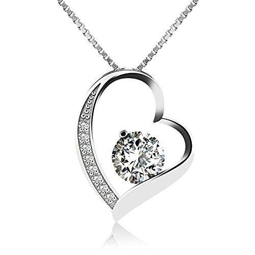 J.V�nus Damen Schmuck, Halskette Silber mit Herz Anh�nger 925 Sterling Silber Zirkonia 45cm / Kette, Schmuck mit Etui (ewige Liebe - wei�)
