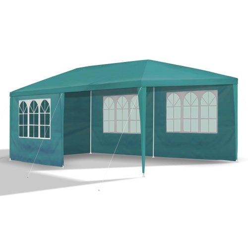 JOM Gartenpavillon 3 x 6 m, mit 6 Seitenw�nden 110G PE, petrol gr�n
