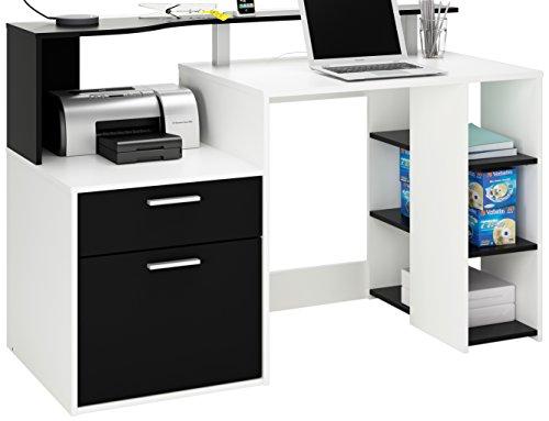 Demeyere 305889 Schreibtisch ORACLE mit 1 T�rig und 1 Schublade, 139,8 x 91 x 55,1 cm, perle wei� und schwarz