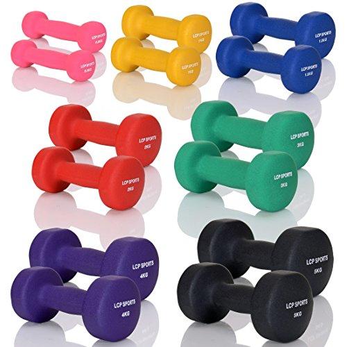 LCP Neopren Kurzhanteln Gymnastik Gummi Gewichte Soft Grip Set in 10 Gewichtsstufen: 2 x 0,5 kg