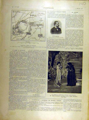 Theater-Karte Moukden-Druck 1905 Bouliguine Bernhardt