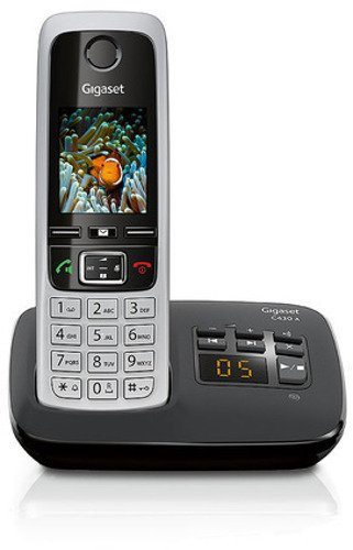 Gigaset C430A Schnurlostelefon (4,6cm (1,8 Zoll) TFT-Farbdisplay, Freisprecheinrichtung, Anrufbeantworter) schwarz