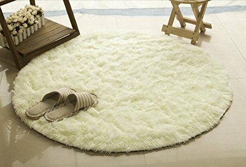 Teppiche, LANTENG Runde Weiche Moderne Shag Gebiet Seidig Glatt Wohnzimmer Rund Teppich Schlafzimmer Teppich Yoga-Matte (80cmX80cm, Milch Wei�)