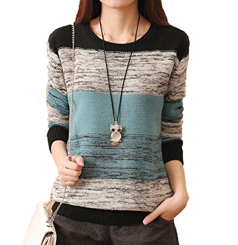 CRAVOG Damen Pullover Herbst Casual Long Sleeve Lose Strick Pullover Sweater Top Outwear (M, Blau)
