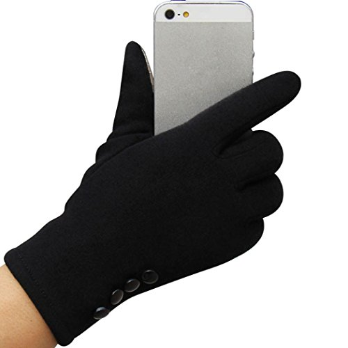 Longra Frauen Touch Screen Winter Outdoor Sport warme Handschuhe (Schwarz)