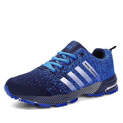 Laufschuhe Retwin Turnschuhe Stra�enlaufschuhe Sneaker mit Snake Optik Damen Herren Sportschuhe Blau 45