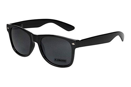 X-CRUZE� 8-001 Nerd Sonnenbrille Wayfarer Style Stil Retro Vintage Retro Unisex Herren Damen M�nner Frauen Brille Nerdbrille - schwarz